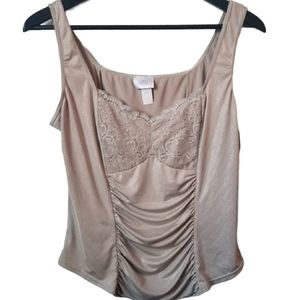Vintage woman nude sparkly lace ruched camisole